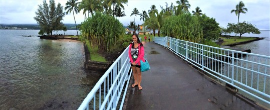 Passerelle menant au Parc publique vers la petite Ile à Hilo